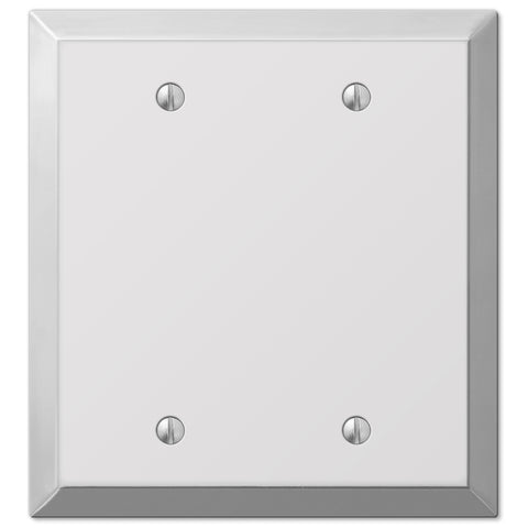Century Polished Chrome Steel - 2 Blank Wallplate - Wallplate Warehouse