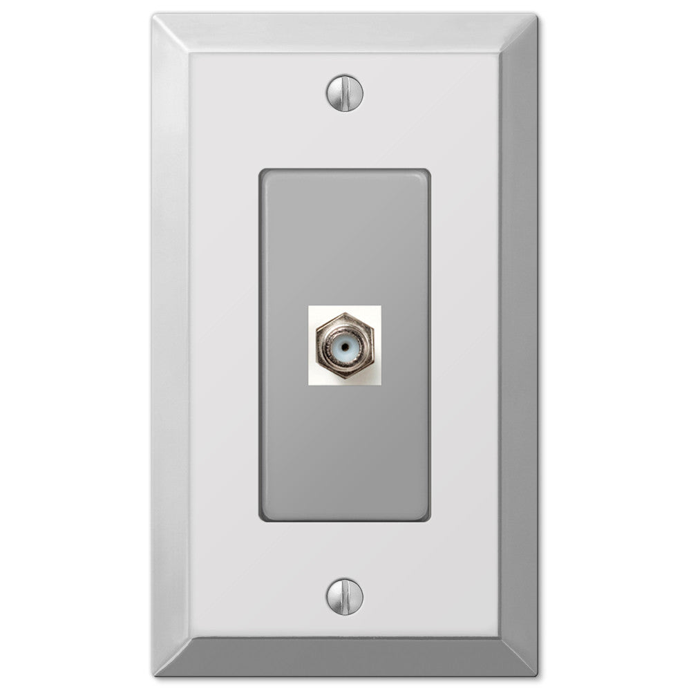 Century Polished Chrome Steel - 1 Cable Jack Wallplate - Wallplate Warehouse