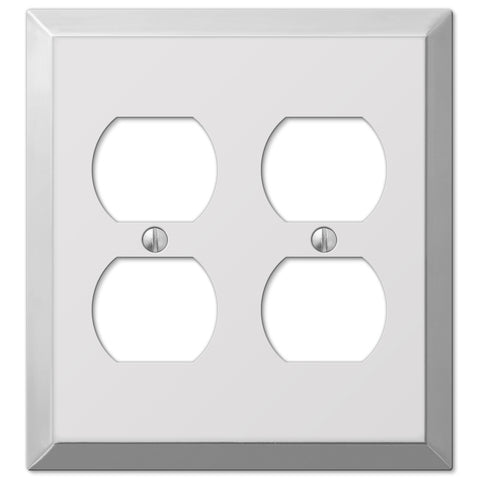 Century Polished Chrome Steel - 2 Duplex Outlet Wallplate - Wallplate Warehouse