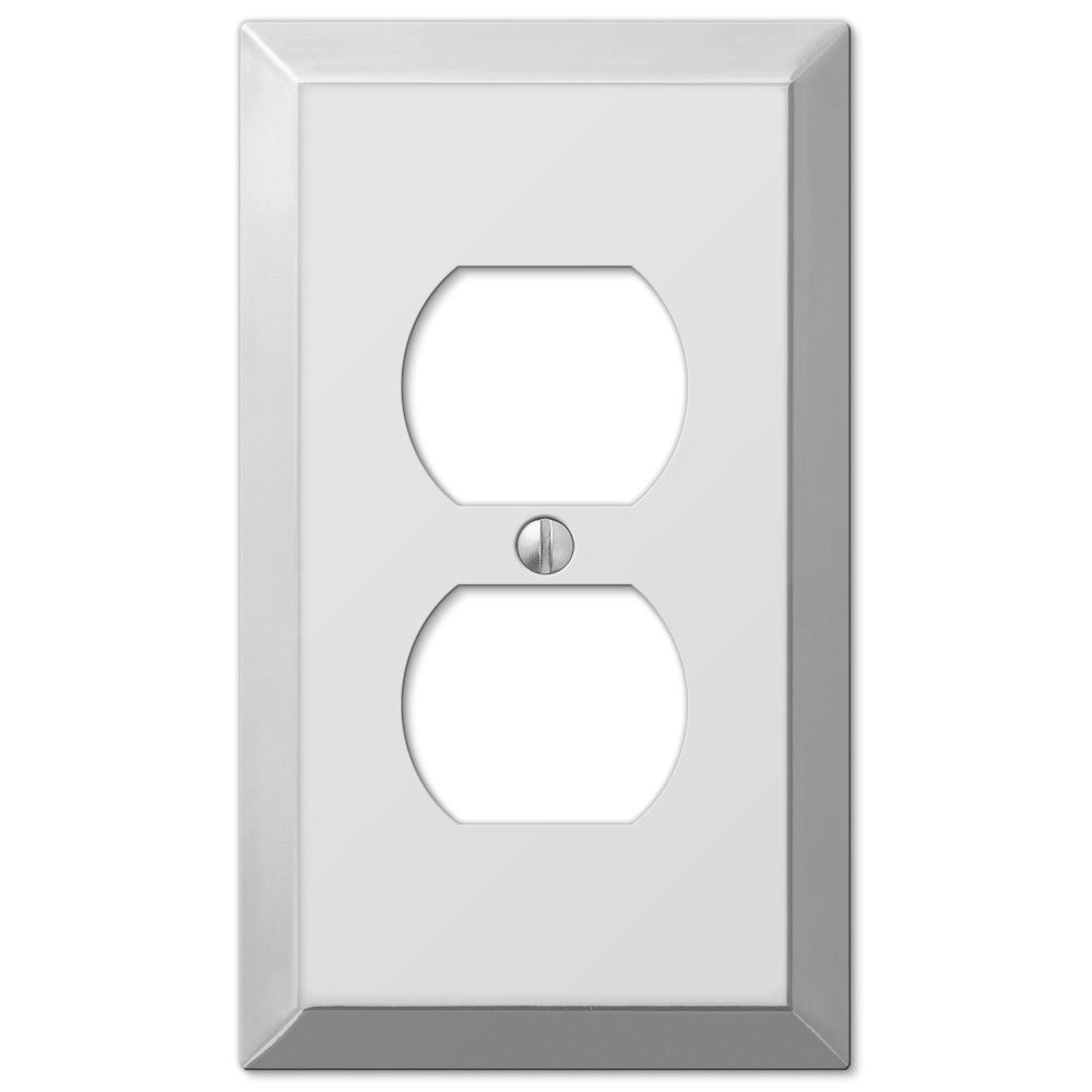 Century Polished Chrome Steel - 1 Duplex Outlet Wallplate - Wallplate Warehouse