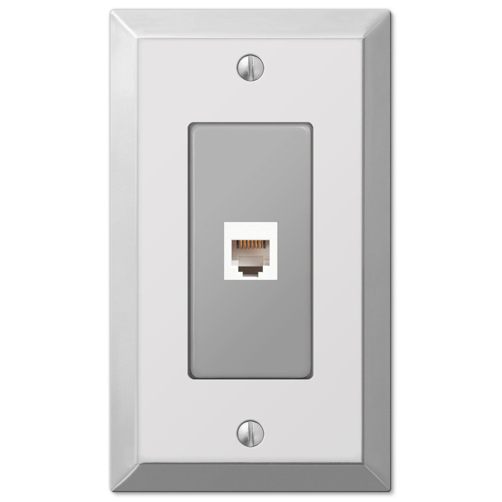Century Polished Chrome Steel - 1 Phone Jack Wallplate - Wallplate Warehouse
