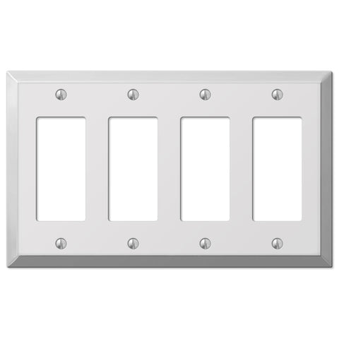 Century Polished Chrome Steel - 4 Rocker Wallplate - Wallplate Warehouse