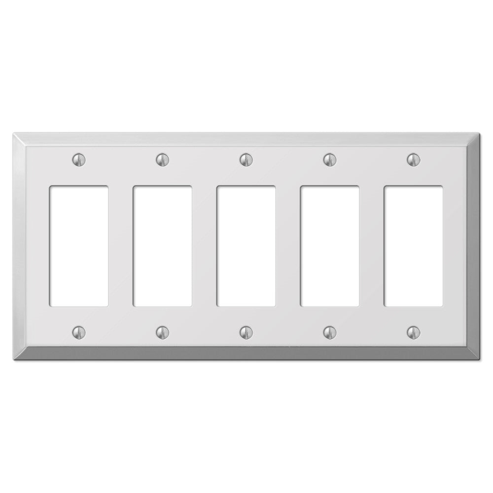 Century Polished Chrome Steel - 5 Rocker Wallplate - Wallplate Warehouse