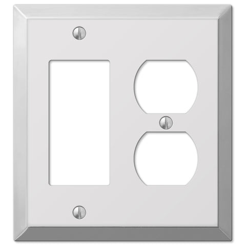 Century Polished Chrome Steel - 1 Rocker / 1 Duplex Outlet Wallplate - Wallplate Warehouse