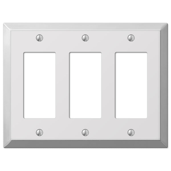 Century Polished Chrome Steel - 3 Rocker Wallplate - Wallplate Warehouse
