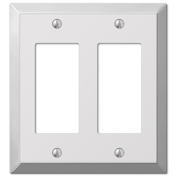 Century Polished Chrome Steel - 2 Rocker Wallplate - Wallplate Warehouse