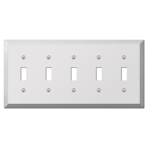 Century Polished Chrome Steel - 5 Toggle Wallplate - Wallplate Warehouse