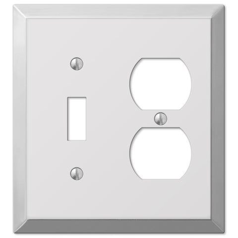 Century Polished Chrome Steel - 1 Toggle / 1 Duplex Outlet Wallplate - Wallplate Warehouse