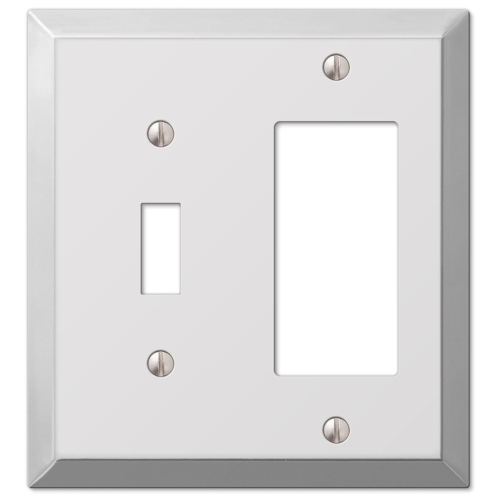 Century Polished Chrome Steel - 1 Toggle / 1 Rocker Wallplate - Wallplate Warehouse