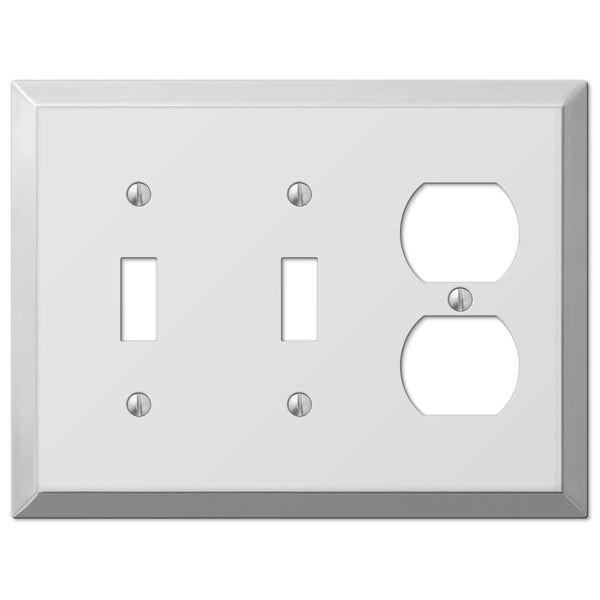 Century Polished Chrome Steel - 2 Toggle / 1 Duplex Outlet Wallplate - Wallplate Warehouse