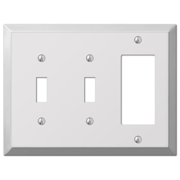 Century Polished Chrome Steel - 2 Toggle / 1 Rocker Wallplate - Wallplate Warehouse