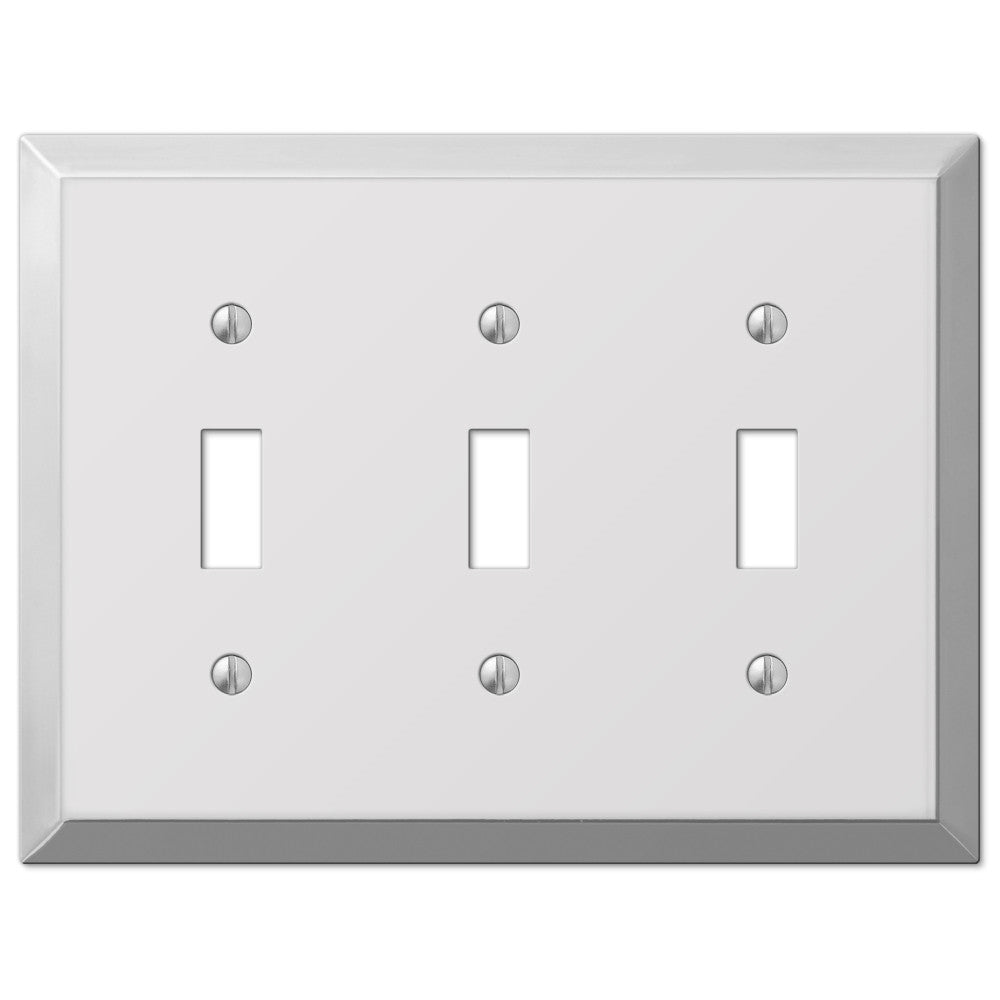 Century Polished Chrome Steel - 3 Toggle Wallplate - Wallplate Warehouse