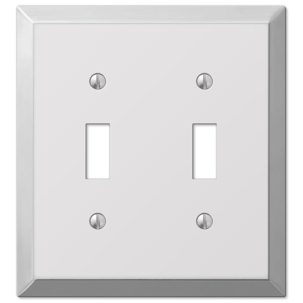 Century Polished Chrome Steel - 2 Toggle Wallplate - Wallplate Warehouse