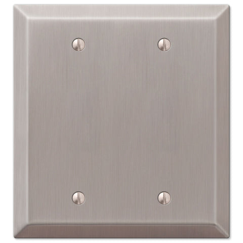 Century Brushed Nickel Steel - 2 Blank Wallplate - Wallplate Warehouse