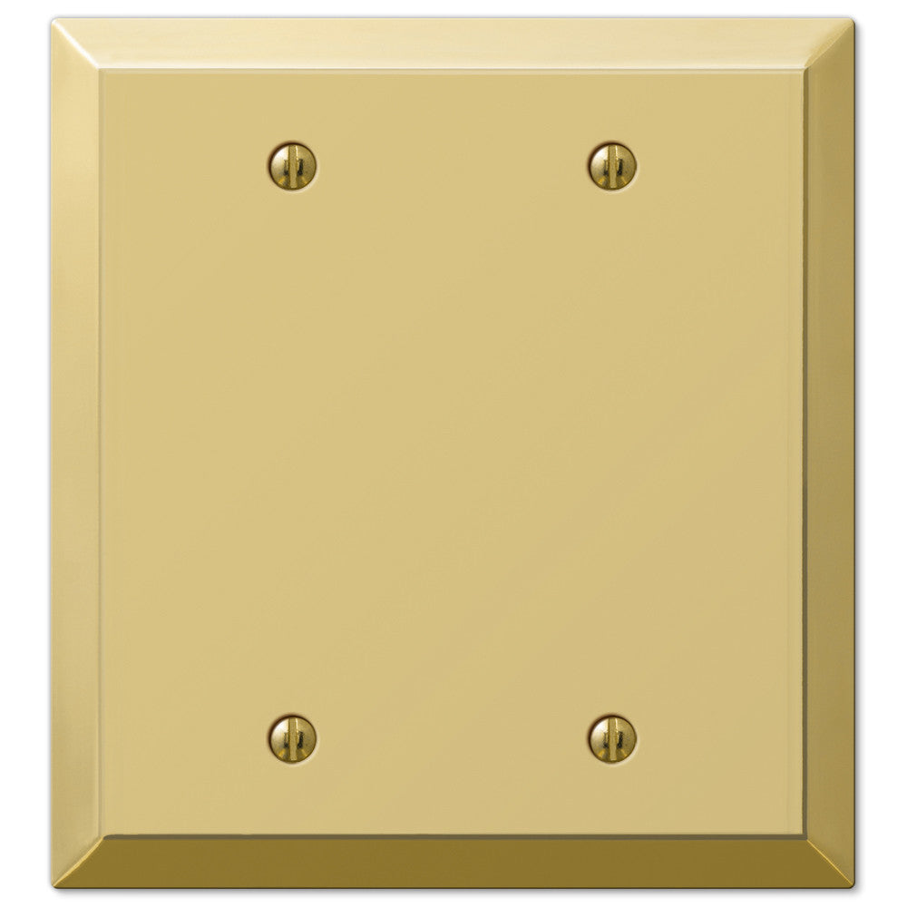 Century Polished Brass Steel - 2 Blank Wallplate - Wallplate Warehouse
