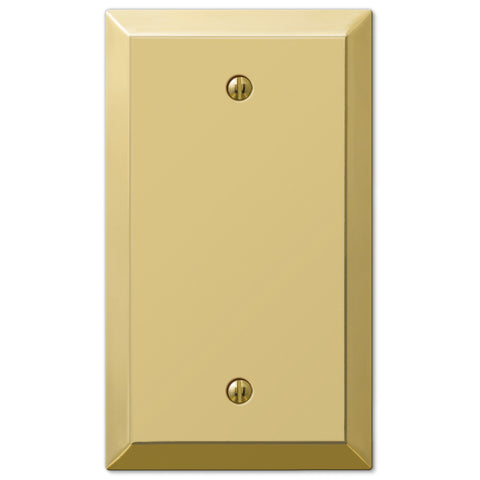 Century Polished Brass Steel - 1 Blank Wallplate - Wallplate Warehouse