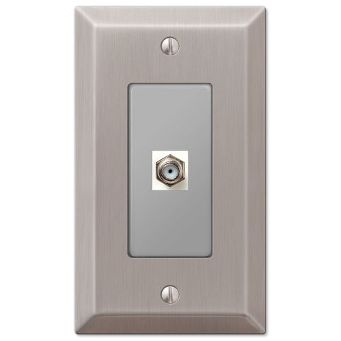 Century Brushed Nickel Steel - 1 Cable Jack Wallplate - Wallplate Warehouse