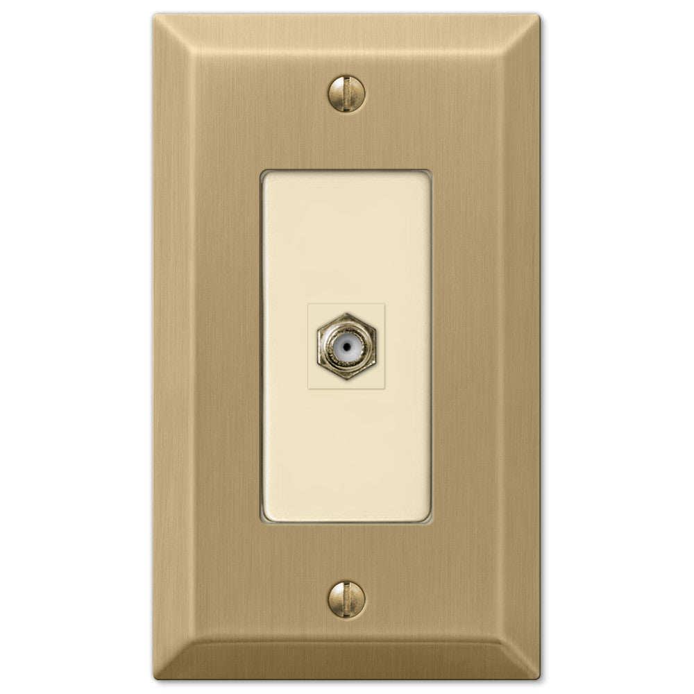 Century Brushed Bronze Steel - 1 Cable Jack Wallplate - Wallplate Warehouse