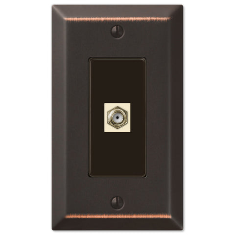 Century Aged Bronze Steel - 1 Cable Jack Wallplate - Wallplate Warehouse