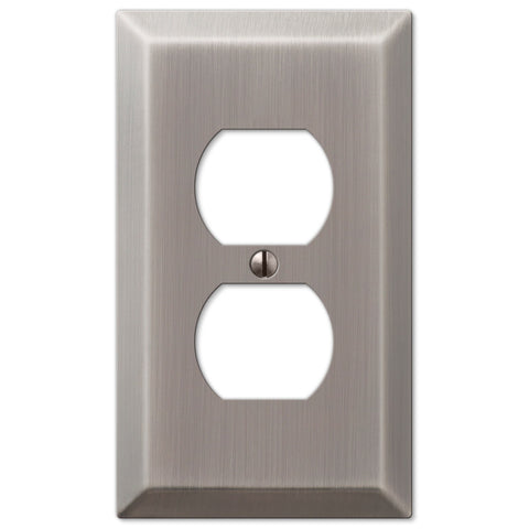 Century Antique Nickel Steel - 1 Duplex Outlet Wallplate - Wallplate Warehouse