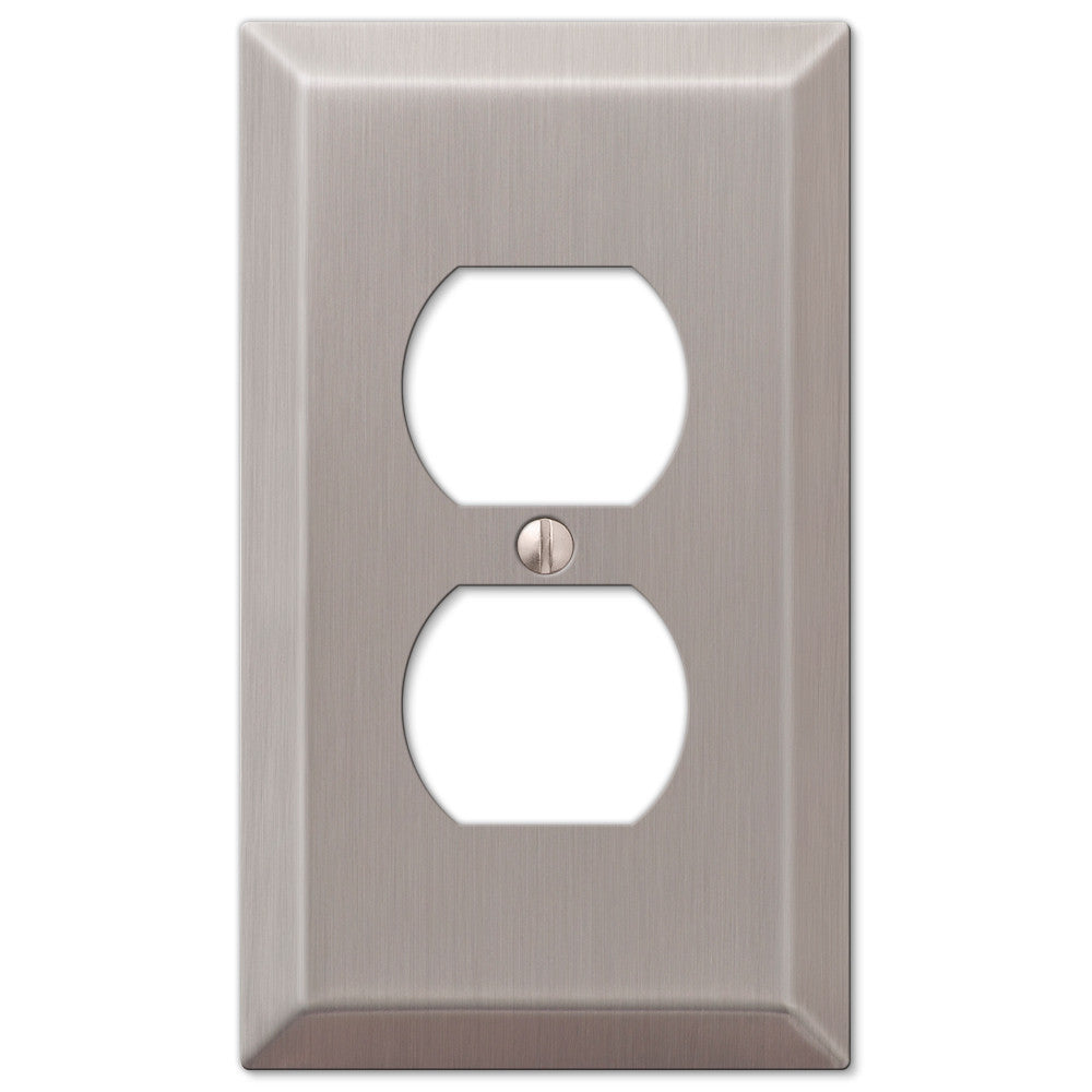 Century Brushed Nickel Steel - 1 Duplex Outlet Wallplate - Wallplate Warehouse