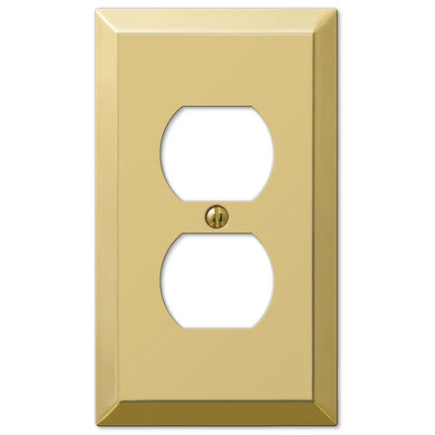 Century Polished Brass Steel - 1 Duplex Outlet Wallplate - Wallplate Warehouse