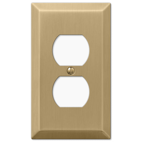 Century Brushed Bronze Steel - 1 Duplex Outlet Wallplate - Wallplate Warehouse