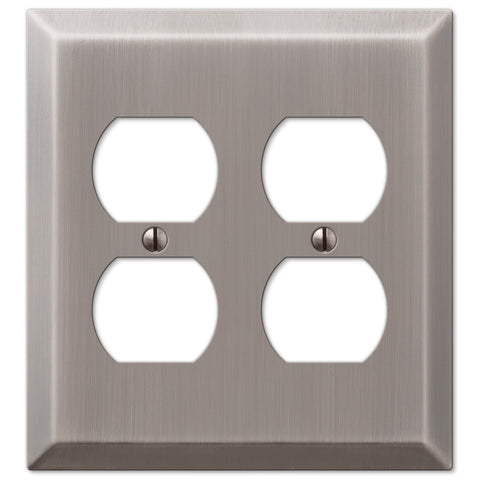 Century Antique Nickel Steel - 2 Duplex Outlet Wallplate - Wallplate Warehouse