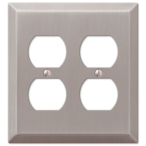 Century Brushed Nickel Steel - 2 Duplex Outlet Wallplate - Wallplate Warehouse