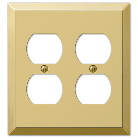 Century Polished Brass Steel - 2 Duplex Outlet Wallplate - Wallplate Warehouse