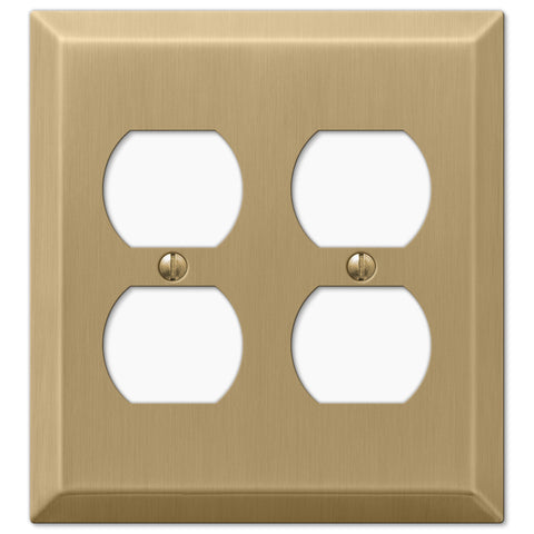 Century Brushed Bronze Steel - 2 Duplex Outlet Wallplate - Wallplate Warehouse