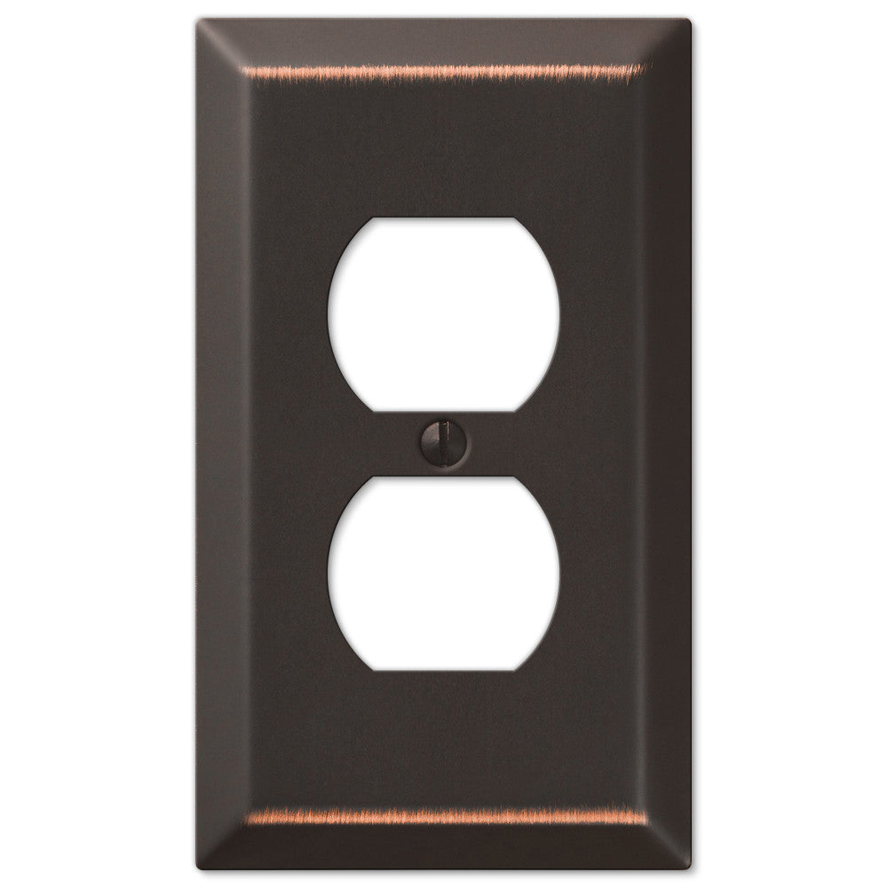 Century Aged Bronze Steel - 1 Duplex Outlet Wallplate - Wallplate Warehouse