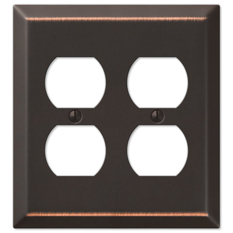 Century Aged Bronze Steel - 2 Duplex Outlet Wallplate - Wallplate Warehouse