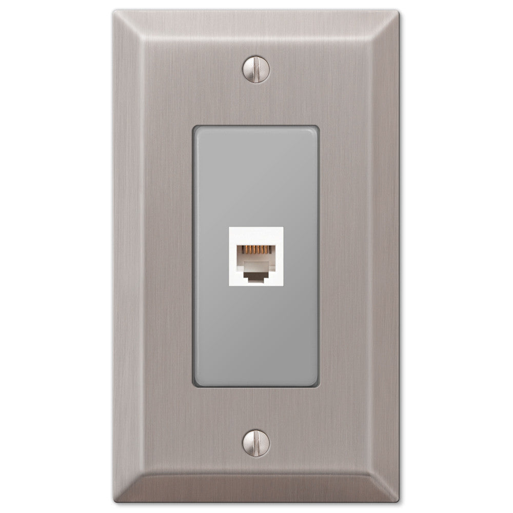 Century Brushed Nickel Steel - 1 Phone Jack Wallplate - Wallplate Warehouse