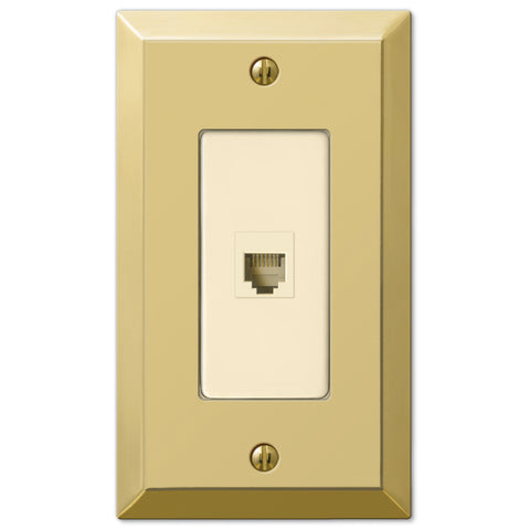 Century Polished Brass Steel - 1 Phone Jack Wallplate - Wallplate Warehouse