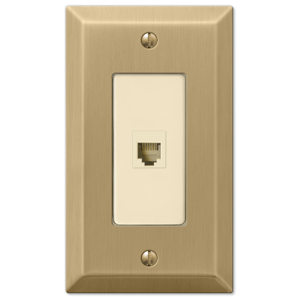 Century Brushed Bronze Steel - 1 Phone Jack Wallplate - Wallplate Warehouse