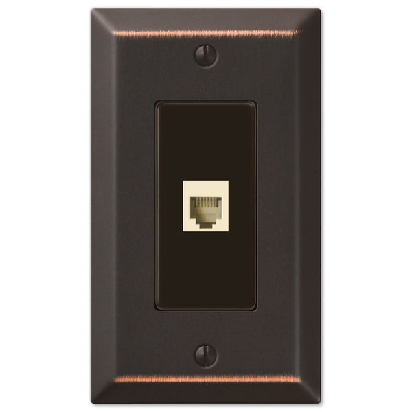 Century Aged Bronze Steel - 1 Phone Jack Wallplate - Wallplate Warehouse