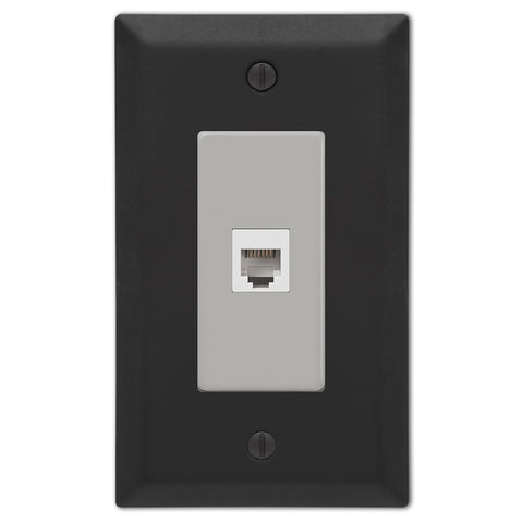 Century Matte Black Steel - 1 Phone Jack Wallplate - Wallplate Warehouse