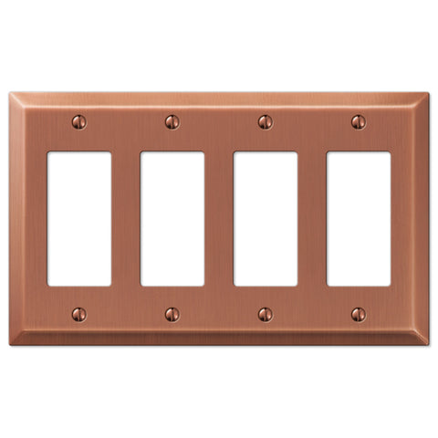 Century Antique Copper Steel - 4 Rocker Wallplate - Wallplate Warehouse