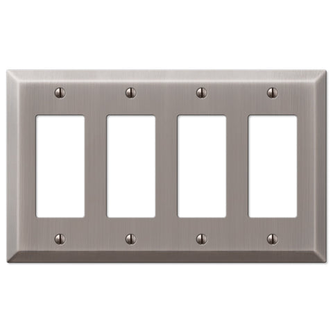 Century Antique Nickel Steel - 4 Rocker Wallplate - Wallplate Warehouse