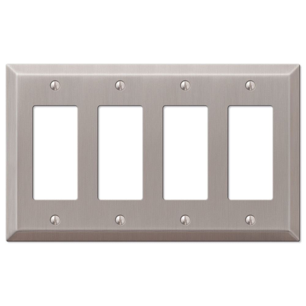 Century Brushed Nickel Steel - 4 Rocker Wallplate - Wallplate Warehouse