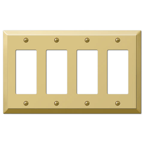 Century Polished Brass Steel - 4 Rocker Wallplate - Wallplate Warehouse