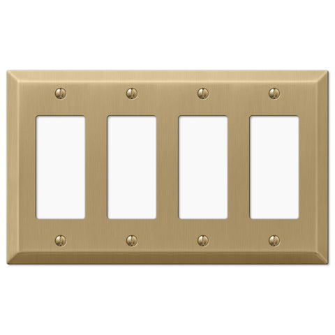 Century Brushed Bronze Steel - 4 Rocker Wallplate - Wallplate Warehouse