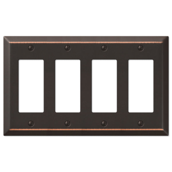 Century Aged Bronze Steel - 4 Rocker Wallplate - Wallplate Warehouse