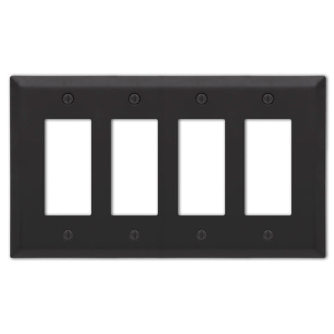 Century Matte Black Steel - 4 Rocker  Wallplate - Wallplate Warehouse