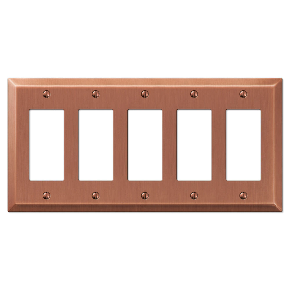 Century Antique Copper Steel - 5 Rocker Wallplate - Wallplate Warehouse