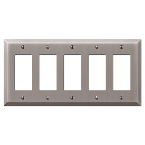 Century Antique Nickel Steel - 5 Rocker Wallplate - Wallplate Warehouse