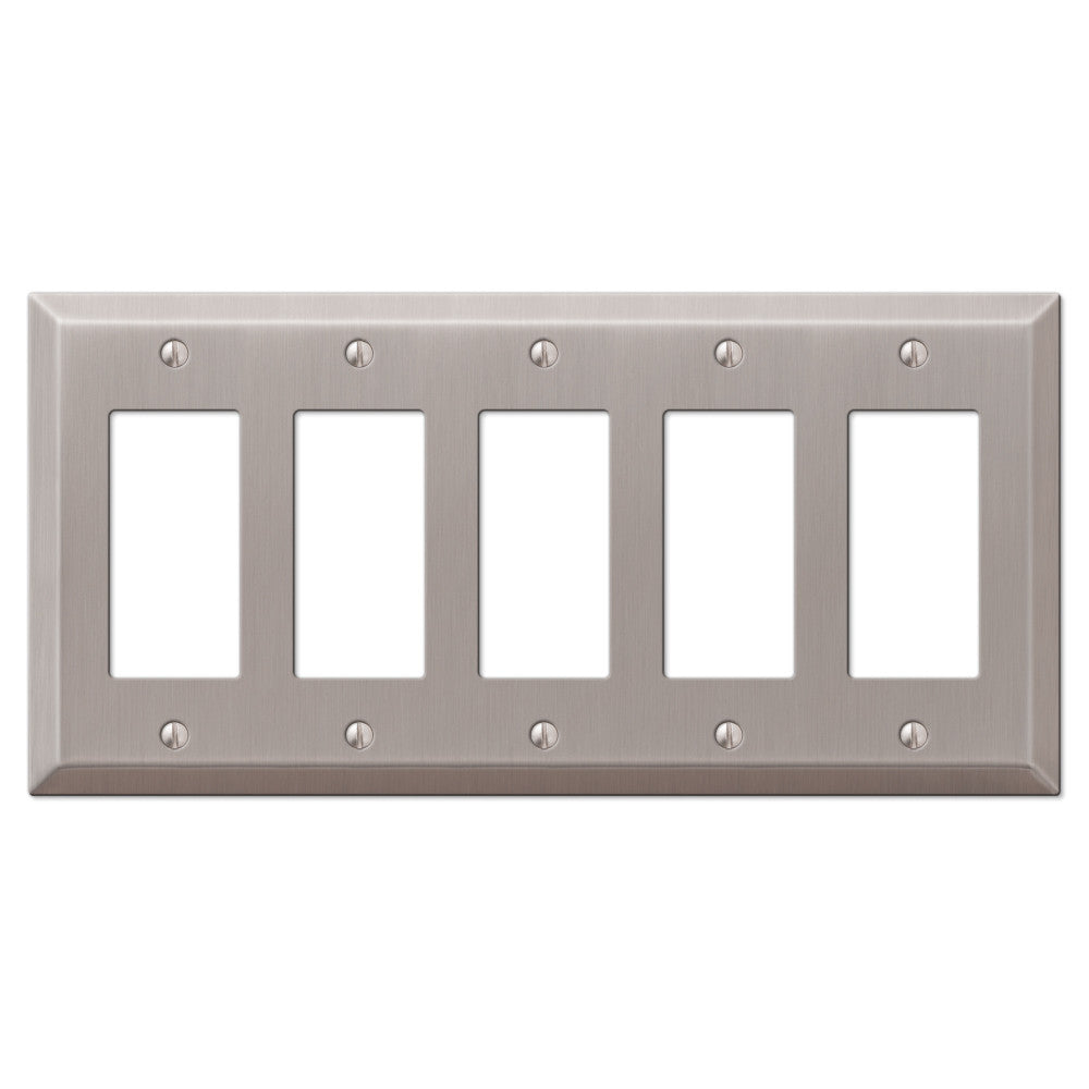 Century Brushed Nickel Steel - 5 Rocker Wallplate - Wallplate Warehouse