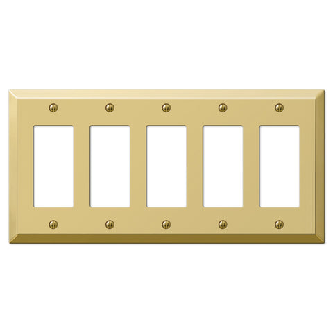 Century Polished Brass Steel - 5 Rocker Wallplate - Wallplate Warehouse