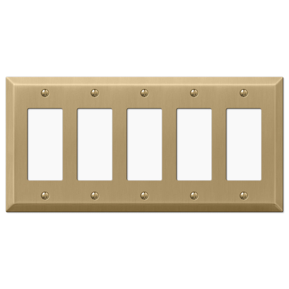 Century Brushed Bronze Steel - 5 Rocker Wallplate - Wallplate Warehouse